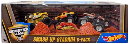 Hot Wheels Monster Jam 25 World Finals Champions Freestyle Smash Up Stadium Diecast Car 5-Pack