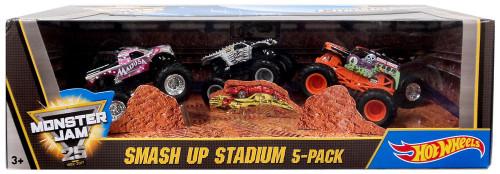 Hot Wheels Monster Jam 25 World Finals Champions Racing Smash Up Stadium Diecast Car 5-Pack