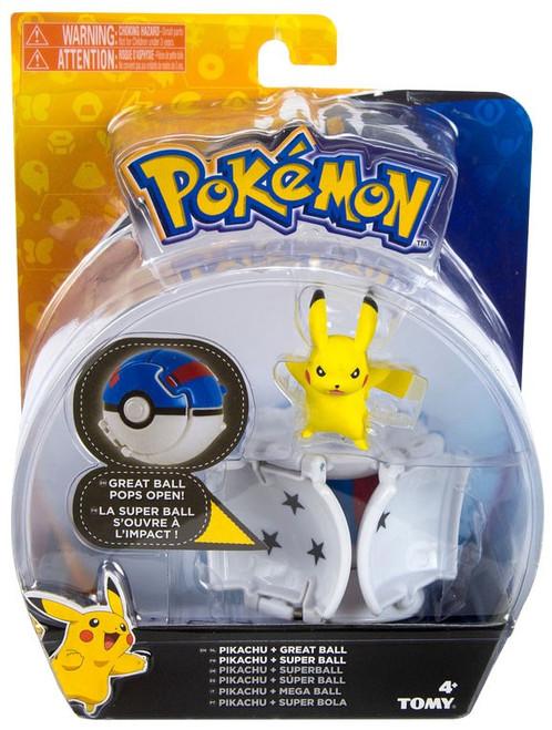 Pokemon Throw 'n' Pop Pokeball Pikachu & Great Ball Figure Set [Standing Arms Out]