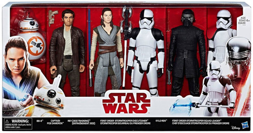 Star Wars The Last Jedi BB-8, Captain Poe Dameron, Rey, Stormtrooper Executioner, Kylo Ren, Stormtrooper Squad Leader Exclusive Action Figure 6-Pack