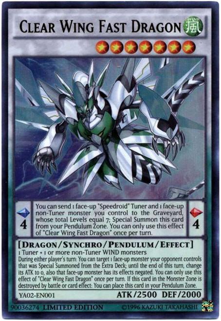 YuGiOh Shonen Jump Ultra Rare Clear Wing Fast Dragon YA02-EN001