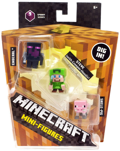 Minecraft Spooky (Halloween) Series 9 Steve with Hoodie, Skeleton Pig & Endereal Mini Figure 3-Pack