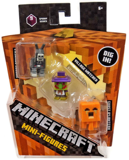 Minecraft Spooky (Halloween) Series 9 Village Watcher, Pumpkin Ghast & Robot Donkey Mini Figure 3-Pack
