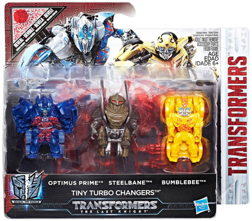 Transformers The Last Knight Tiny Turbo Changers Optimus Prime, Steelbane & Bumblebee Exclusive Mini Figure 3-Pack [Reveal the Shield]