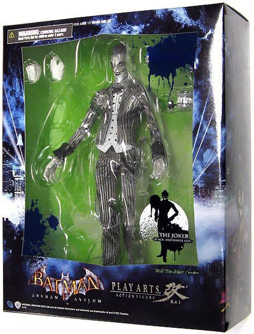 Batman Arkham Asylum Play Arts Kai The Joker Exclusive Action Figure [Black & White]