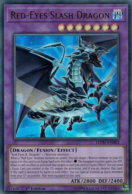 YuGiOh Legendary Duelists Ultra Rare Red-Eyes Slash Dragon LEDU-EN003