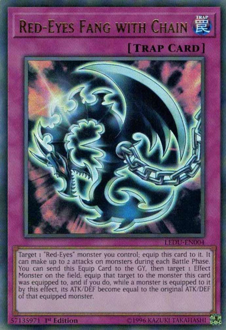 YuGiOh Legendary Duelists Ultra Rare Red-Eyes Fang with Chain LEDU-EN004