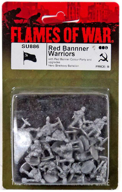 Flames of War Red Banner Warriors Miniature SU886 [with Red Banner Colour Party and upgrades Hero Strelkovy Battalion]