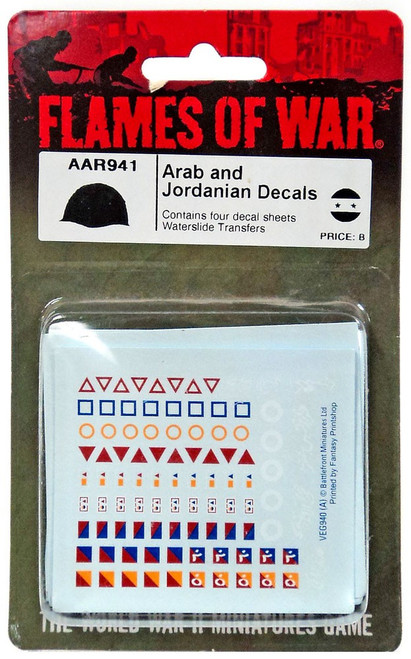 Flames of War Arabe and Jordanian Decals Miniature AAR941 [Contains Four Decal Sheets Waterslide Transfers]