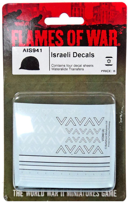 Flames of War Israeli Decals Miniature AIS941 [Contains Four Decal Sheets Waterslide Transfers]