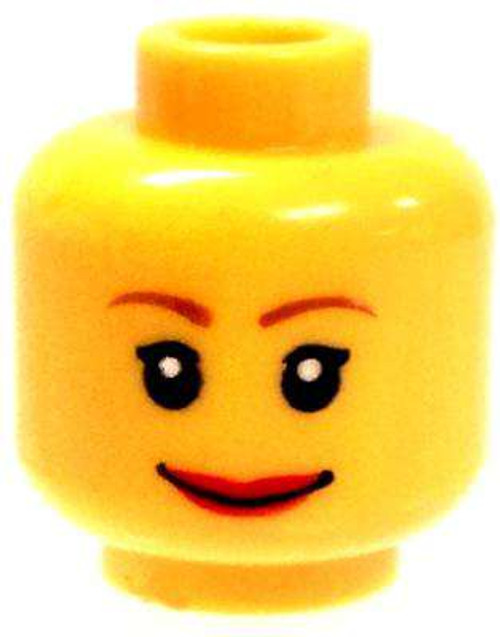 Female Smile with Lipstick Minifigure Head [Yellow Loose]