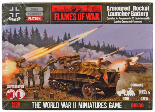 Flames of War Armoured Rocket Launcher Battery Miniatures GBX38 [4x Panzerwerfer 42 Launchers with Loading Crews and Command]