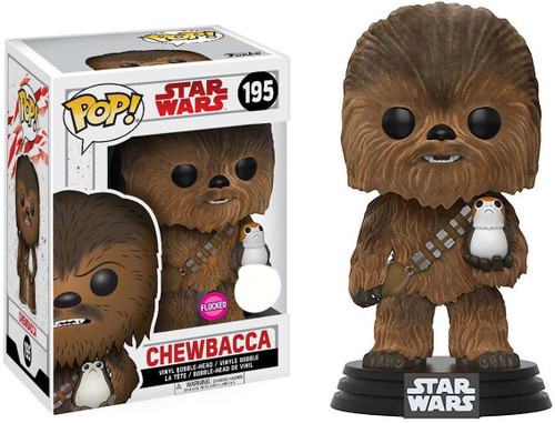 Funko The Last Jedi POP! Star Wars Chewbacca Exclusive Vinyl Bobble Head #195 [with Porg, Flocked]