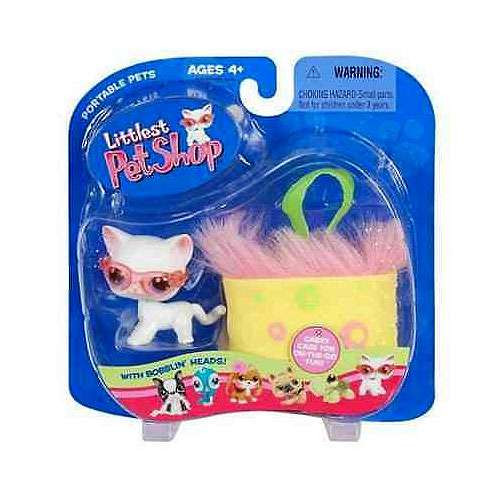 Littlest Pet Shop Portable Pets Cat Figure [White Shorthair with Pink Sunglasses & Carry Case, Damaged Package]