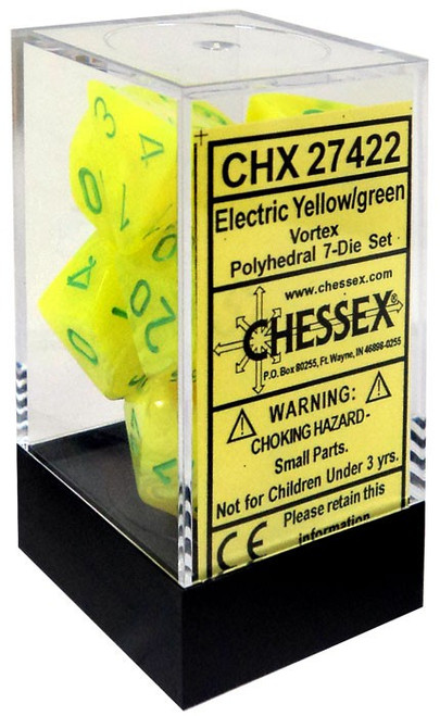 Chessex Vortex Electric Yellow with Green Numbers Polyhedral 7-Die Dice Set #27422