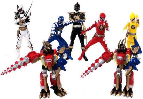 Power Rangers Dino Thunder Red Blue Yellow White & Megazords Micro PVC Set