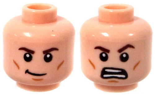 Dual Sided Head, Brown Eyebrows, Cheek Lines, Chin Dimple, Crooked Smile / Open Mouth Angry Look Minifigure Head [Light Flesh Loose]