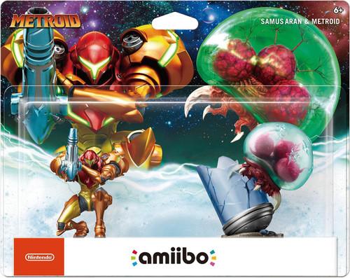 Nintendo Amiibo Samus Aran & Metroid Mini Figure 2-Pack