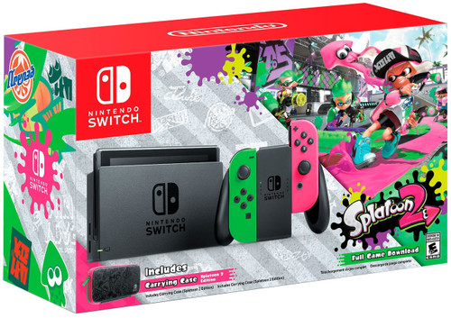 Nintendo Switch + Splatoon 2 Exclusive Video Game Console [Neon Green / Neon Pink Joy-Con]