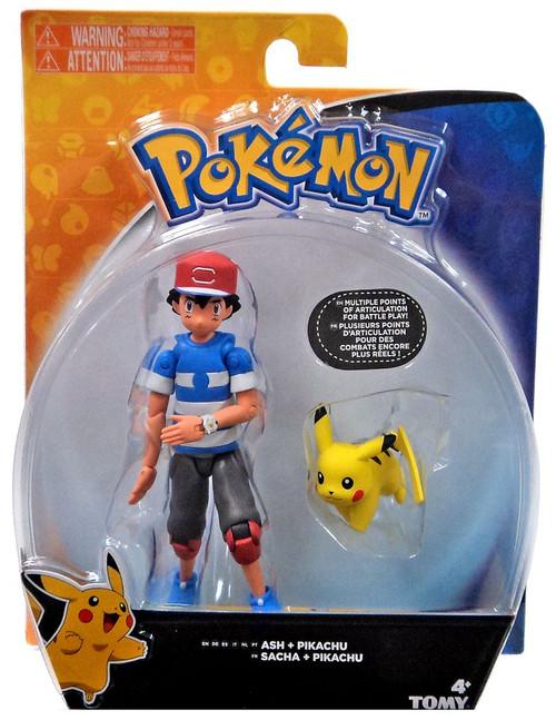 Pokemon Ash & Pikachu Action Figure [Striped Shirt]