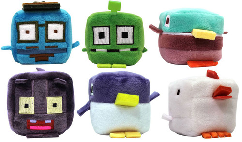 Crossy Road Kawaii Cubes Hipster Whale, Scaredy Cat, Specimen 115, Mallard, Penguin & Chicken 2-Inch Set of 6 Plush