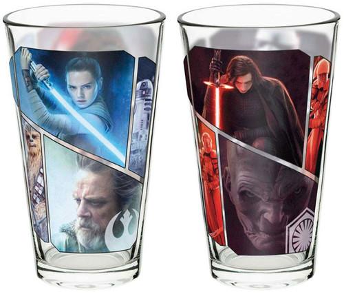 Star Wars The Last Jedi 2 Piece Pint Glass Set [Rey, Kylo Ren and Luke Skywalker]