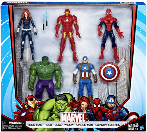 Marvel Avengers Iron Man, Hulk, Black Widow, Spider-Man & Captain America Exclusive Action Figure 5-Pack