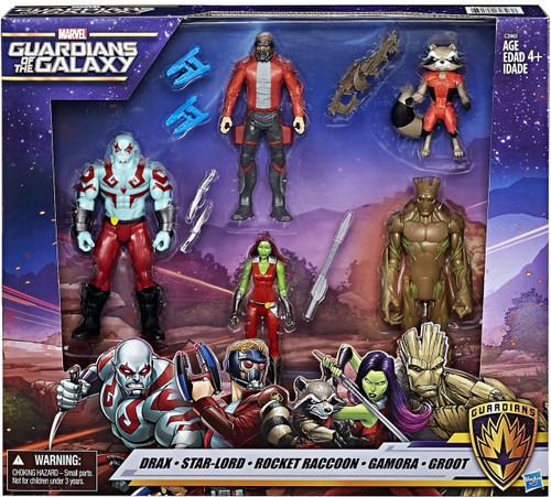 Marvel Guardians of the Galaxy Drax, Star-Lord, Rocket Raccoon, Gamora & Groot Action Figure 5-Pack
