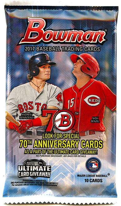 MLB Topps 2017 Bowman Baseball Trading Card Pack [10 Cards!]