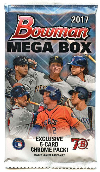MLB Topps 2017 Bowman Baseball MEGA BOX Chrome Trading Card PACK [5 Cards]