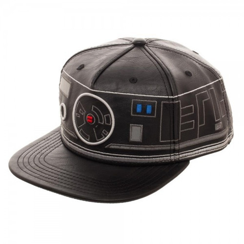 Star Wars The Last Jedi First Order BB Unit Big Face Embroidered Faux Leather Snapback Cap Hat Apparel