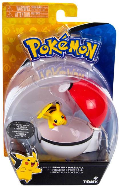 Pokemon Clip n Carry Pokeball Pikachu & Poke Ball Figure Set [Laying Down, Smiling]