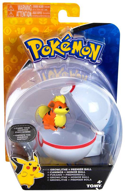 Pokemon Clip n Carry Pokeball Growlithe & Premier Ball Figure Set