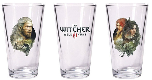 The Witcher 3: Wild Hunt Geralt & Triss with Yennefer Pint Glass Set [Set of 2]