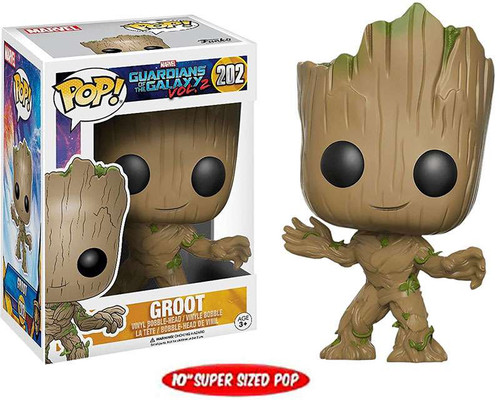 Funko Guardians of the Galaxy Vol. 2 POP! Marvel Groot Exclusive 10-Inch Vinyl Bobble Head #202 [Super-Sized, Damaged Package]