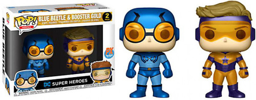 Funko DC Universe POP! Heroes Booster Gold & Blue Beetle Exclusive Vinyl Figure 2-Pack [Metallic Version]
