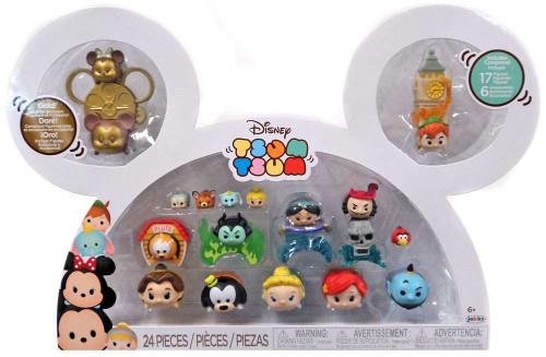 Disney Tsum Tsum Mickey, Minnie, Pluto, Maleficent, Jasmine, Captain Hook, Belle, Goofy, Cinderella, Ariel , Genie & Peter Pan 1-Inch Minifigure 17-Pack