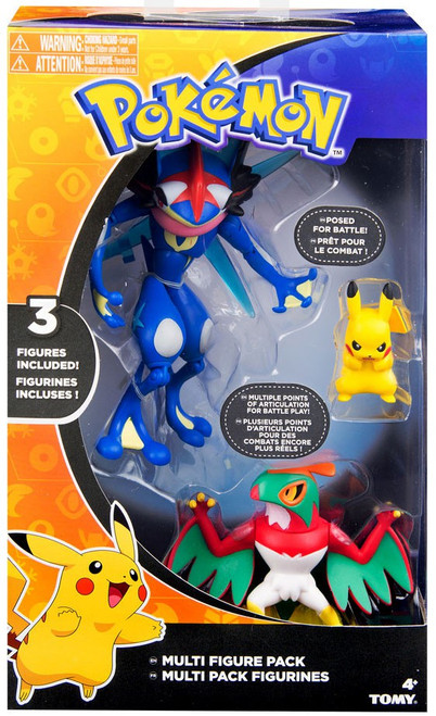 Pokemon Ash-Greninja, Hawlucha & Pikachu 3-Inch Figure 3-Pack