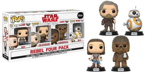 Funko The Last Jedi POP! Star Wars Rey, Luke Skywalker, Chewbacca & BB-8 Exclusive Vinyl Bobble Head 4-Pack #190, 193, 195 & 196 [Rebels]