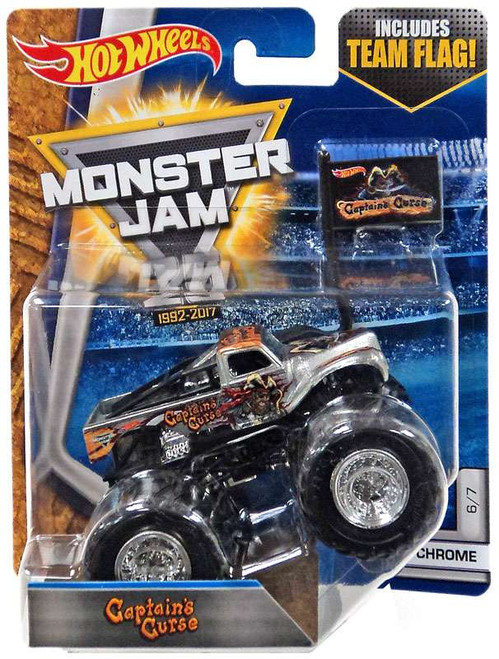 Hot Wheels Monster Jam 25 Captain's Curse Diecast Car #6/7 [Chrome]