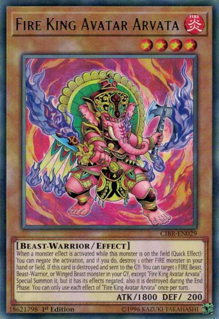 YuGiOh Circuit Break Rare Fire King Avatar Arvata CIBR-EN029