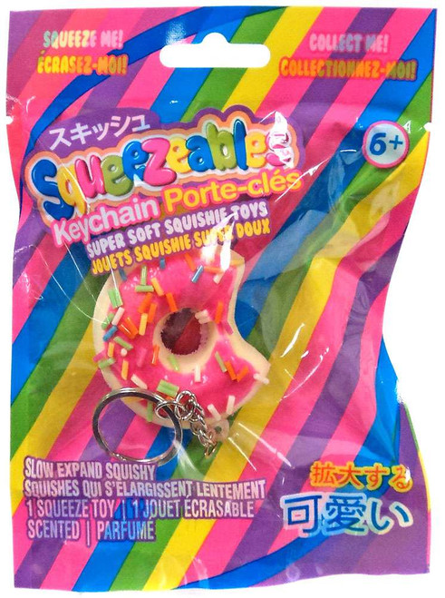 Squeezeables Series 1 Pink Donut Squeeze Toy Keychain
