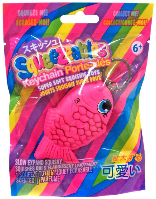 Squeezeables Pink Fish Squeeze Toy Keychain
