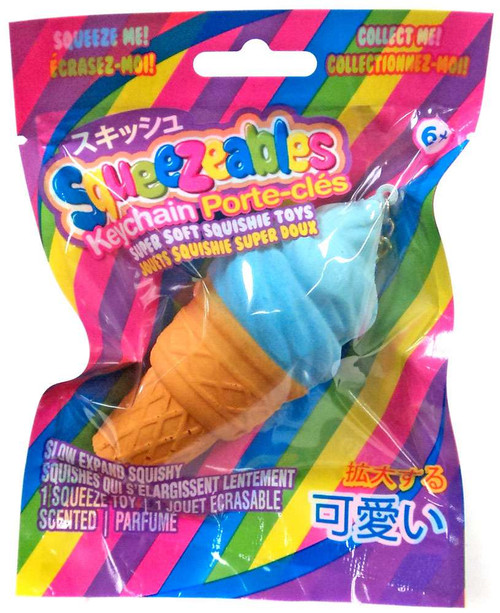 Squeezeables Series 1 Blue Ice Cream Cone Squeeze Toy Keychain