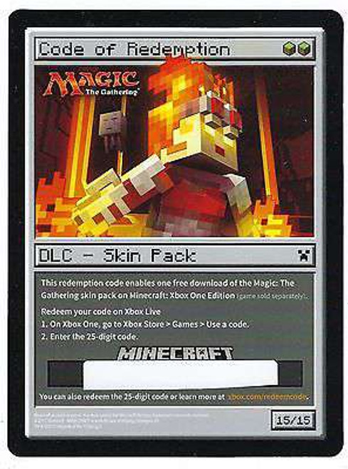 Minecraft Magic the Gathering Code of Redemption Code Card