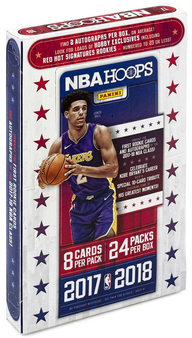 NBA Panini 2017-18 Hoops Basketball Trading Card HOBBY Box [24 Packs, 2 Autographs!]