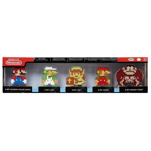 World of Nintendo 8-Bit Modern Mario, Luigi, Link, Mario & Donkey Kong 2.5-Inch Mini Figure 5-Pack