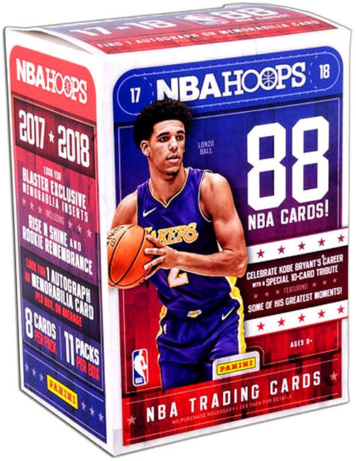 NBA Panini 2017-18 Hoops Basketball Trading Card BLASTER Box [11 Packs, 1 Autograph OR Memorabilia Card]