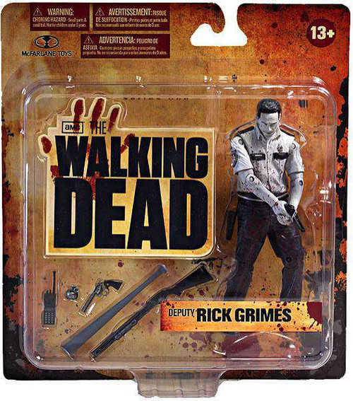 McFarlane Toys The Walking Dead AMC TV Deputy Rick Grimes Exclusive Action Figure [Bloody Black & White, Damaged Package]