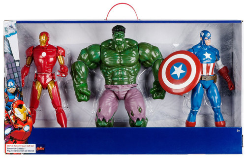 Disney Marvel Avengers Iron Man, Hulk & Captain America Exclusive Deluxe Action Figure 3-Pack Gift Set [Version 2 Package]